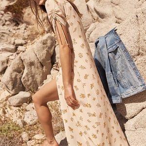New Madewell JCREW Silk Wrap Maxi Dress